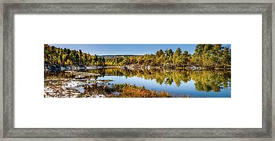 Framed Print featuring the photograph Autumn At Ivie Pond Panoramic by TL Mair