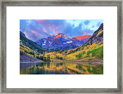 Autumn Colors At Maroon Bells And Lake Framed Print