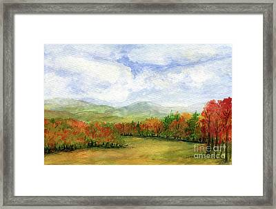 Autumn Day Watercolor Vermont Landscape Framed Print
