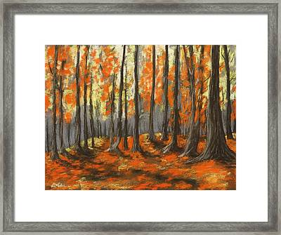Framed Print featuring the painting Autumn Forest by Anastasiya Malakhova
