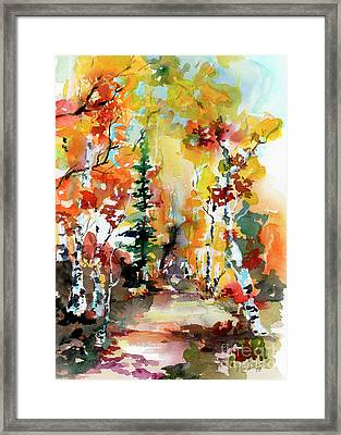 Framed Print featuring the painting Autumn Forest Symphony Watercolors by Ginette Callaway