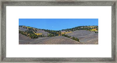 Framed Print featuring the photograph Autumn Moon Setting Panoramic View by James BO Insogna