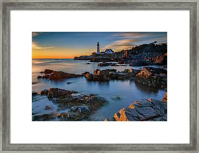 Framed Print featuring the photograph Autumn Morning At Portland Head Lighthouse  by Rick Berk