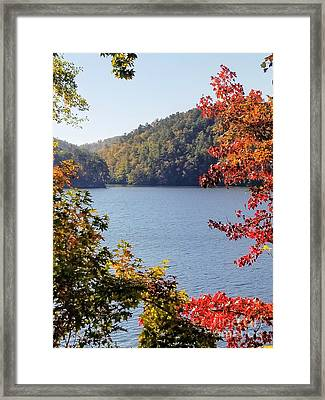 Framed Print featuring the photograph Autumn On The Lake by Rachel Hannah