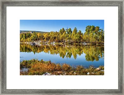 Framed Print featuring the photograph Autumn Reflections At Ivie Pond by TL Mair
