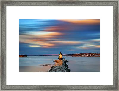 Framed Print featuring the photograph Autumn Skies At Spring Point Ledge Lighthouse by Rick Berk