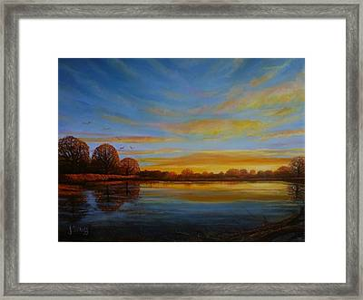 Autumn Sunrise. Framed Print by Janet Silkoff
