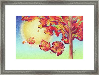 Autumn Wind And Leaves Framed Print