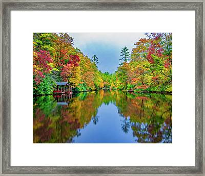 Framed Print featuring the photograph Autumn On Mirror Lake by Andy Crawford