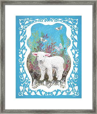 Baby Lamb With White Butterflies Framed Print