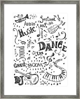 Background Made Up Of Music Doodles Framed Print by Kalistratova