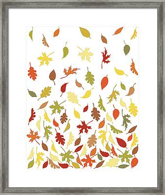 Background Pattern Of Falling Autumn Framed Print by Photos.com