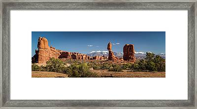 Framed Print featuring the photograph Balanced Rock And The La Sal Mountain Range by David Morefield