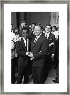 Baldwin & Brando At Lincoln Monument Framed Print by Fred W. McDarrah