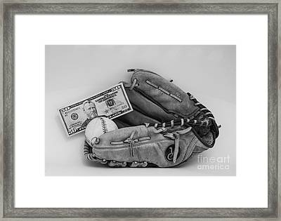 Ball And Glove Framed Print