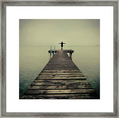 Ballerina Pose At Idyllic Lake At Winter Framed Print