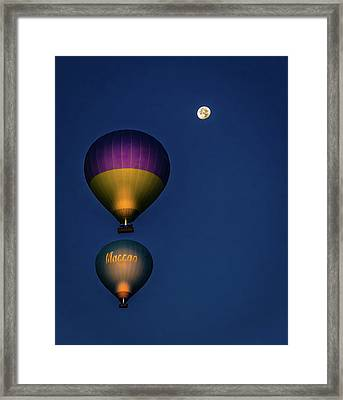 Framed Print featuring the photograph Balloons And The Moon by Francisco Gomez