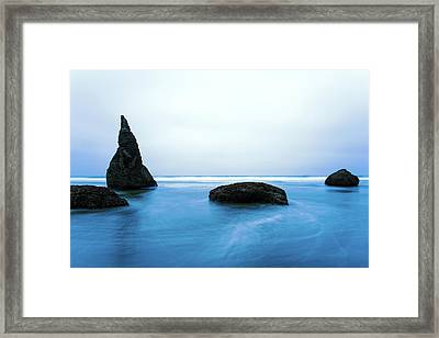 Framed Print featuring the photograph Bandon By The Sea Aqua Blue by Rospotte Photography