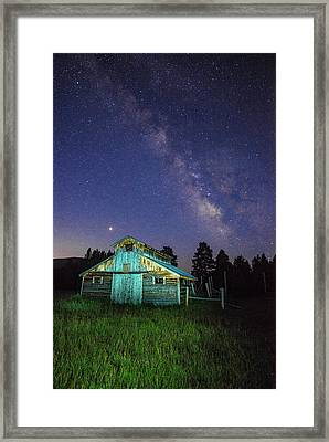 Framed Print featuring the photograph Barn In Rocky 2 by Gary Lengyel