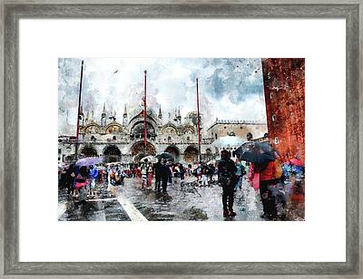 Basilica Of Saint Mark In Venice With Watercolor Look Framed Print