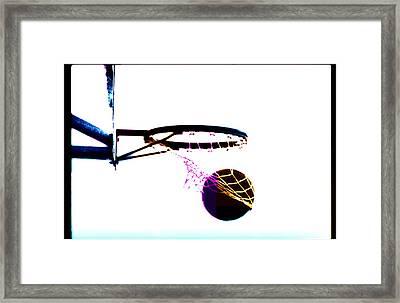 Basketball Going Through Net, Close-up Framed Print