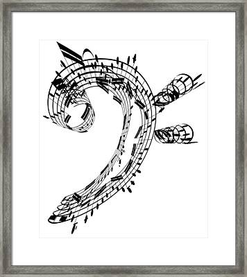 Bass Clef Made Of Music Notes Framed Print by Ian Mckinnell