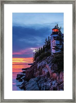 Bass Harbor Head Lighthouse At Twilight Framed Print