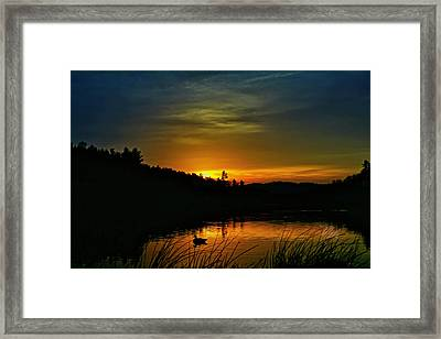 Bass Lake Sunrise Duck Framed Print