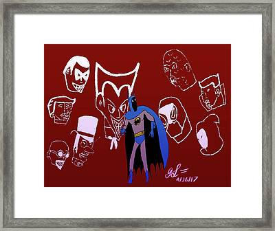 Batman's Rogues' Gallery Framed Print by John Lavernoich