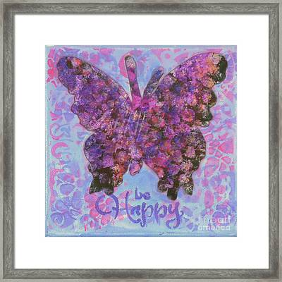 Be Happy 2 Butterfly Framed Print