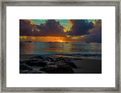 Beach At Sunset Framed Print