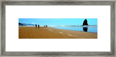 Framed Print featuring the photograph Beach Walk Wide by Jerry Sodorff
