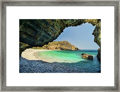 Almiro Beach With Cave Framed Print