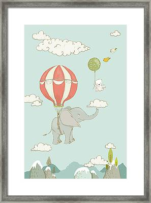 Framed Print featuring the painting Floating Elephant And Bear Whimsical Animals by Matthias Hauser