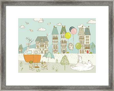 Framed Print featuring the painting Bears And Mice Outside The City Cute Whimsical Kids Art by Matthias Hauser