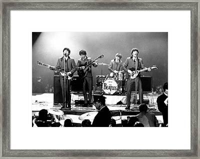 Beatles Perform In Washington, D.c Framed Print