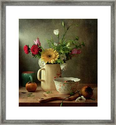 Beautiful Flower Bouquet And Fruits Framed Print