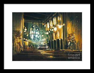 Religious Architecture Digital Art Framed Prints