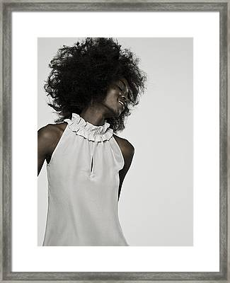 Beautiful Young Woman With An Afro Framed Print