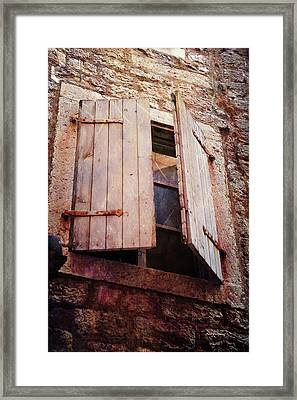 Framed Print featuring the photograph Behind Shutters by Randi Grace Nilsberg
