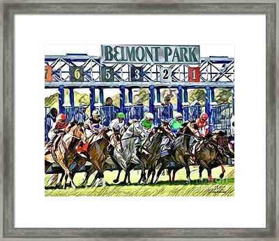 Belmont Park Starting Gate 1 Framed Print