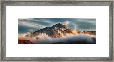 Framed Print featuring the photograph Ben Lomond Misty Sunset by Grant Glendinning