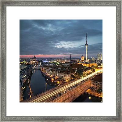 Berlin Cityscape Framed Print by Rafael Dols