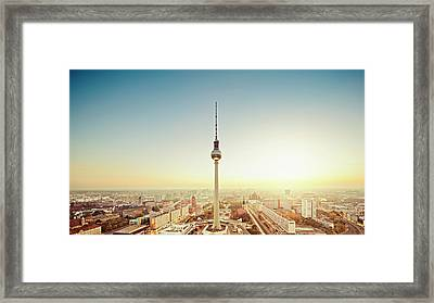 Berlin Cityscape With Fernsehturm At Framed Print by Ricowde