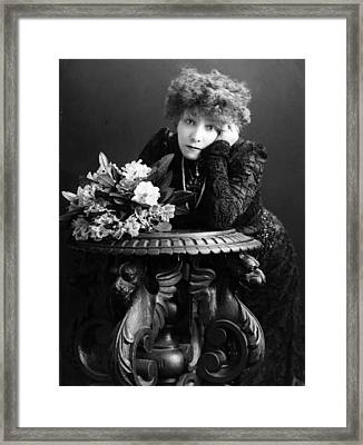 Bernhardt And Table Framed Print by Hulton Archive
