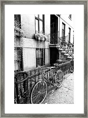 Bicycle In Greenwich Village New York City Framed Print