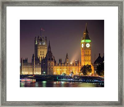 Big Ben At Night, London Framed Print by Cescassawin