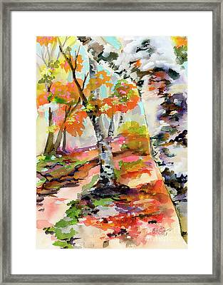 Framed Print featuring the painting Birch Trees Around The Bend by Ginette Callaway