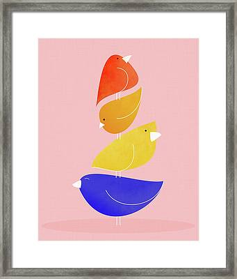 Framed Print featuring the mixed media Bird Stack by Kristian Gallagher