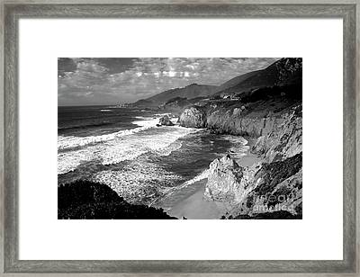 Black And White Big Sur Framed Print